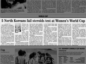 5 North Koreans fail steroids test at 2011 Women's World Cup