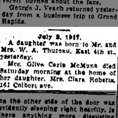 Olive Carle McMunn death date - ·--In Iver S, HIT. A daughter w*« born-to Mr....