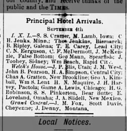 The Black Hills Daily Times (Deadwood, SD) 5 Sept. 1877, Wed. p. 4