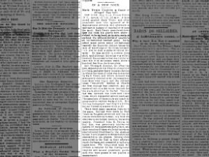 Newspaper account of Mark Twain umpiring a baseball game in New York in 1887
