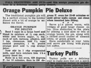 1949 recipe for Orange Pumpkin Pie deluxe with orange zest and orange juice; serve with cheese
