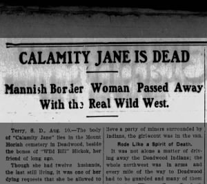 Headline announcing Calamity Jane's death