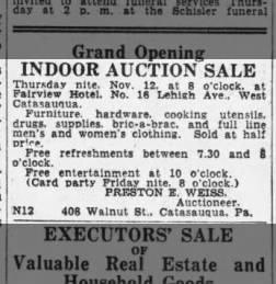 1936 Preston E Weiss, auctioneer, 408 Walnut St