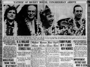 Walt Disney visits Hawaii, 1934