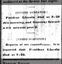 Newspaper incorrectly reports that Seward had died