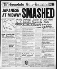 Hawaiian newspaper front page headlines about the beginning of the Battle of Midway