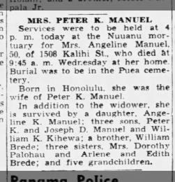 Angeline Brede Manuel died 22 Mar 1944 at Kalihi home