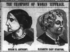 1871 newspaper images of Susan B. Anthony and Elizabeth Cady Stanton