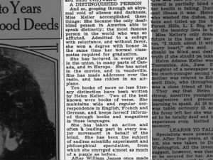 1930 article summarizes Helen Keller's accomplishments and achievements at age 50