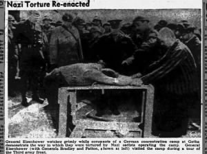 Concentration camp inmates re-enact ways of torture used by the Nazis