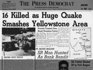 News coverage of the 1959 Yellowstone earthquake
