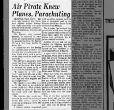 D.B. Cooper familiar with airplanes and parachuting say authorities