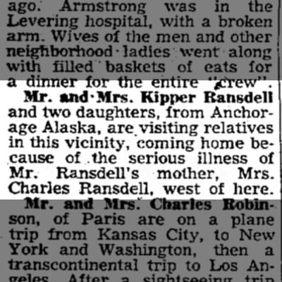 Kipper and family return to be with Ethel Ransdell -