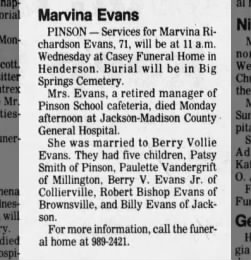 Evans, Marvina Obit