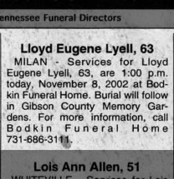 Lloyd Lyell Obituary 2002