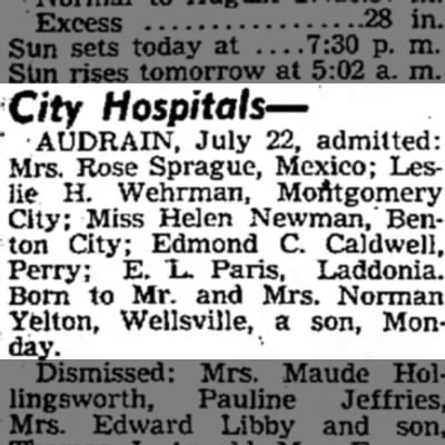 City Hospitals; admit Leslie H. Wehrman - City Hospitals— • AUDRAIN, July 22, admitted:...