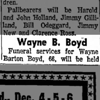 Wayne B. Boyd Obit -