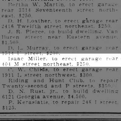 Building Permit for Isaac Miller to build a garage at 404 M Street NE.  1/16/1921 Wash Post
