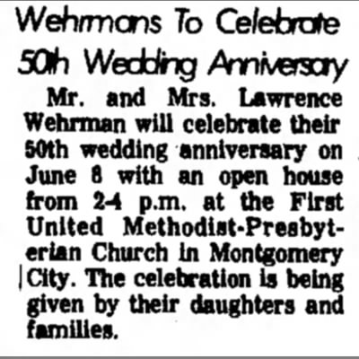 Wehrmans to Celebrate 50th Wedding Anniversary; Mr and Mrs Lawrence Wehrman