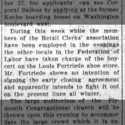 Louis Fortriede, The Ft.Wayne Sentinel, Fri. Dec. 21, 1906 p.6