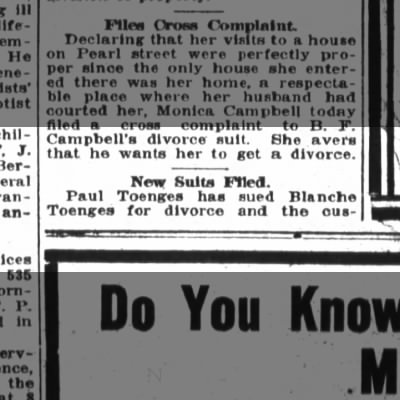 R/Paul,Blanche Toenges The Fort Wayne Sentinel, Th. Aug. 25, 1921, p.8