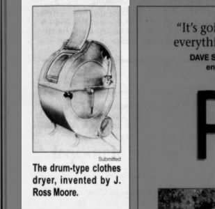 Drum-type clothes dryer invented by J. Ross Moore