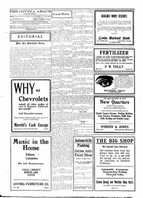Covina Argus from Covina, California on April 4, 1919 · Page 4