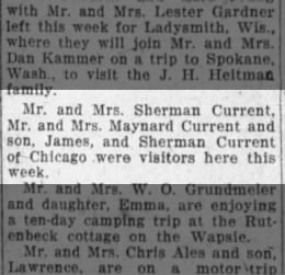 Sherman Current family from Chicago with Son Maynard and children James and Sherman