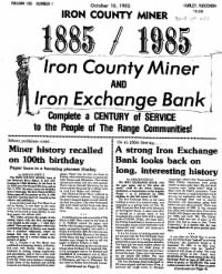 Sample Iron County Miner front page