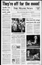 Newspaper front page announces successful launch of Apollo 11 from Cape Kennedy