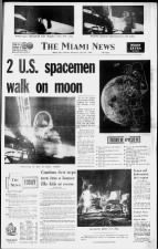 Newspaper front page after the successful moon landing by Armstrong and Aldrin