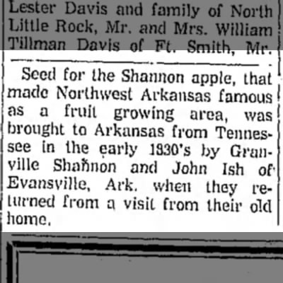 John Johannas Ish and Granville Shannon bring seed for Shannon apple to NW AR - Seed for the Shannon apple, that made Northwest...