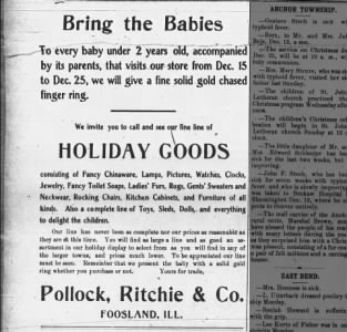 Ad for Pollock, Ritchie & Co. A department store