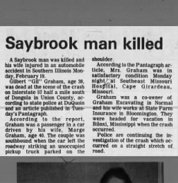 Gilbert and Marge Graham in car accident. Gibson City Courier 21 Feb 1990