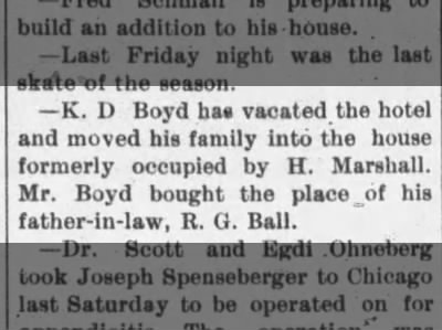 K.D. Boyd bought R.G. Ball house