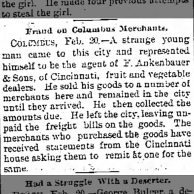 Logansport Pharos-Tribune 20 Feb 1894 - Fraud on Coluniljn* merchants, COLUMBUS, Feb....