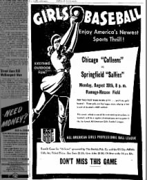 Ad for All-American Girls Baseball League game