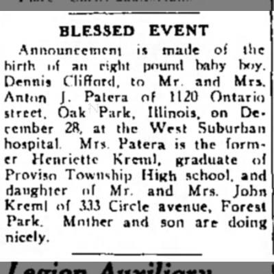 Dennis Clifford PATERA birth announcement -