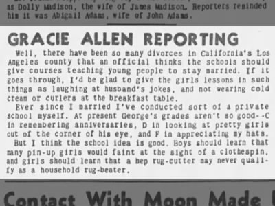 Clip of the Day: Marriage tips from Gracie Allen?