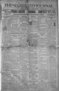 Sample Girard Journal front page