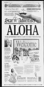 Sample Honolulu Star-Advertiser front page