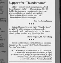 Support for Thunderdome  Tampa  Bay Times 29 May 1989