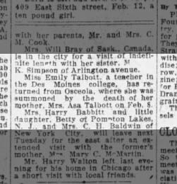 EMILY TALBOTT-DES MOINES TRIBUNE, DES MOINES, IA, 16 FEB 1917, FRIDAY,PG 5