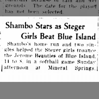 Aunt Lorraine Baseball?Chgo Hts Star 8/6/1935