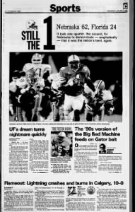 1996 Fiesta Bowl, Tampa Bay Times sports cover
