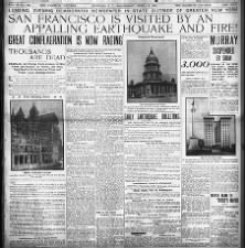 San Francisco struck by destructive earthquake and resulting fires, April 18, 1906