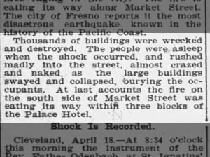News reports residents were asleep at the time of the devastating 1906 San Francisco earthquake