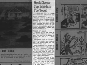 Canada pulls out of 1962 World Cup	on claims that schedule is too tough