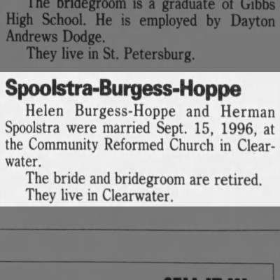 Spoolstra, Herman 19961013; Tampa Bay Times, St. Petersburg, FL., Marriage, Helen Burgess