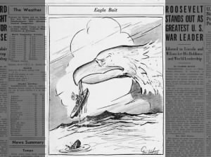 Political cartoon about the Battle of Midway published June 7, 1942